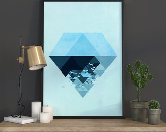 Poster Geometric Art Wall Art Geometric Decor Print Geometric Diamond Print Nordic Art Diamond Gallery Wall Print
