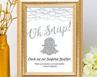 Printable Silver Glitter Look Social Media Geofilter String Lights Wedding Event Hashtag Sign, 2 Sizes, Editable PDF, Instant Download