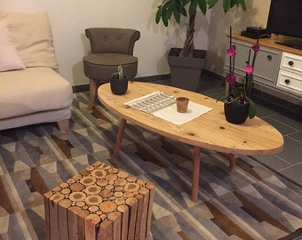 Table low Scandinavian style / wooden coffee table