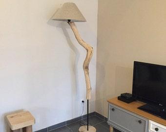 Lamppost on foot wood and metal / big foot lamp tube and wood