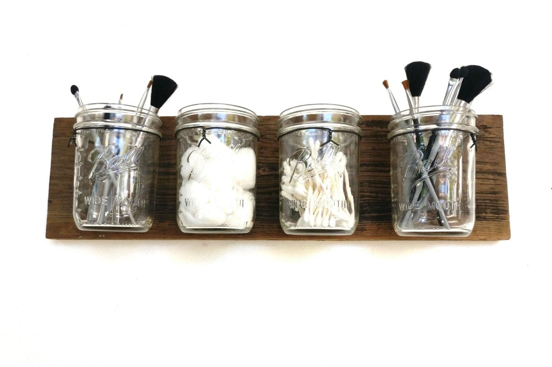 Reclaimed Wood Mason Jar Organizer Makeup Organizer Bathroom
