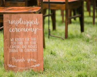 Unplugged Ceremony Wooden Sign for Weddings