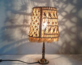 Macrame and brass lamp