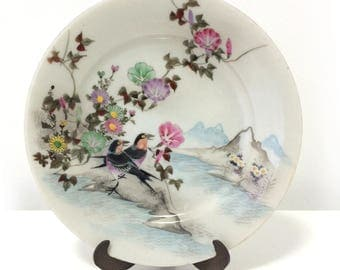 Vintage Asian beautifully decorated plate, Birds amidst morning glory, flowers, mountains, signed