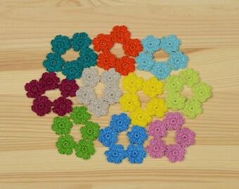 Crochet Flowers, Crochet applique, 50 pcs small flowers, cotton flowers, applique flower, scrapbooking, flower embellishment.