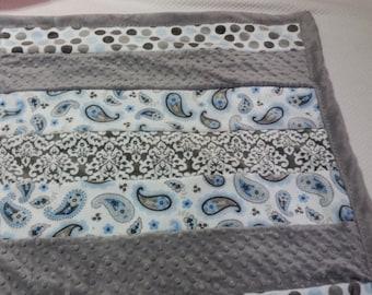 Baby Blanket, Blue, Cuddle Minky, Baby Shower Gift, Handsewn