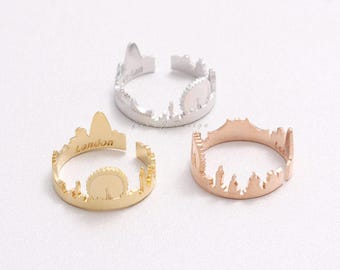 London Skyline City Open Band Ring, Adjustable Size