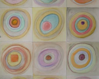 Kandinsky Circles Style Original Watercolor Painting 18x24 on paper Midcentury Modern Muted Bright Pastels Turquoise Pink Blue Tan Orange