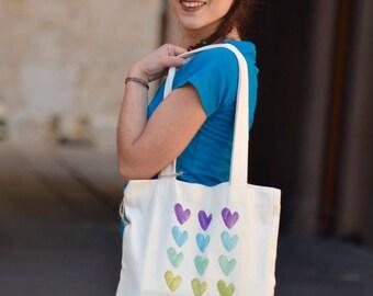 Organic cotton shopper regenerated/hearts/chakra handpainted