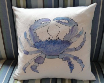Blue Crab Pillow Cover // Beach House Decor // Zippered Pillow // Summer Decor // 16 x 16