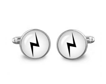Lightning Bolt Cuff Links Scar Links 16mm Cufflinks Gift for Men Groomsmen Geeky Cuff links Fandom Jewelry