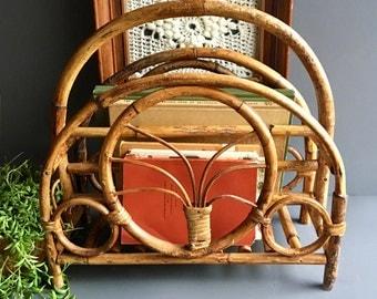 Vintage Rattan Bentwood Magazine Basket / Magazine Rack / Storage Basket - Vintage Bohemian Decor