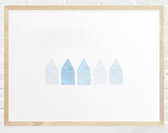 Beach Cottage Print, Coastal Decor, Watercolor Beach Cottage Printable, Blue Print, Modern Wall Art, Minimalist, Instant Download