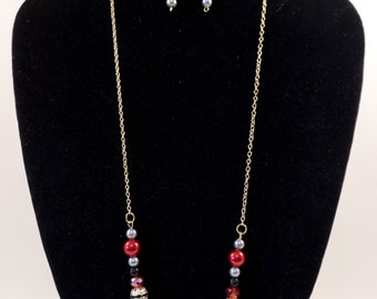 Red and Gold Beaded Necklace and Earring Set