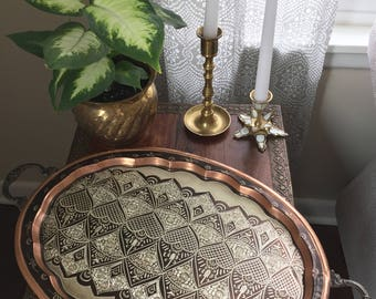 Vintage Metal Etched Tray