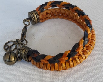 Boy childs leather cuff, double braided leather bracelet with soccer and peace charm  in copper for your little boy