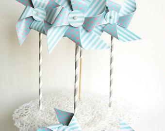 Paper pinwheels 6 PCs. Light blue pinwheels, Baby party, wedding party.