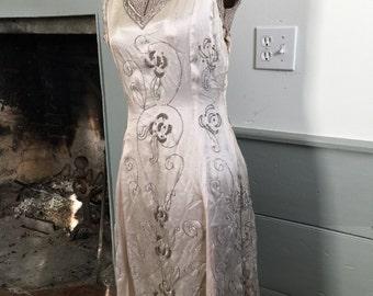 True vintage beaded metallic 1920's dress