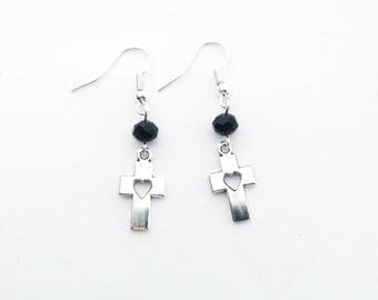 Cross earrings with heart shaped holes and black beads | Gothic Earrings | silver toned