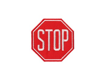 STOP  Patch - Stop  Embroidered Iron on Patch, STOP Iron on Applique