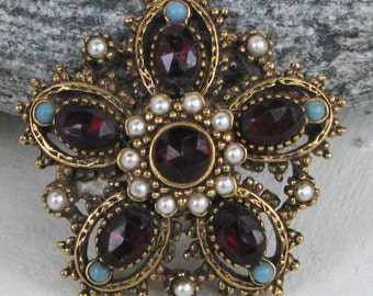 Vintage Signed ART Brooch Faux Garnet Faux Turqouise and Faux Seed Pearls Gold Tone Metal Arthur Pepper