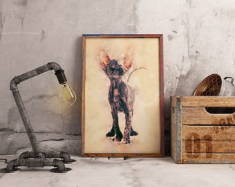 Gray Sphynx Cat Print Custom Cute Sphynx Cat Art Custom Pet Giclee Animal Prints for Bedroom Minimal Art Portraits Contemporary Art