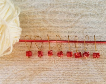 8 Piece Stitch Markers Square Millefiori Beads for Knitters SMS661
