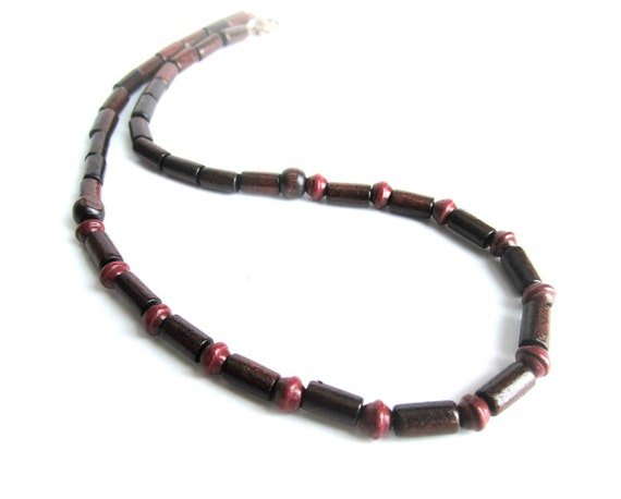 mens wood beaded necklace wooden necklace brown mens