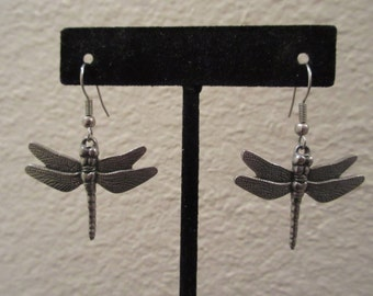 Cool Pewter Dragonfly vintage dangle pierced earrings with french wires. Perfect for Spring and Summer for any nature lover!