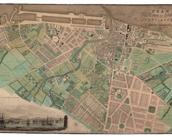 Old Map of Leith | Fine Art Print | vintage town survey in Leith, Edinburgh. Nr. Newhaven, Trinity, Portobello, Meadows, Lothian from 1822