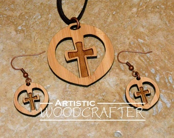 Wooden Cross Necklace and Earring set (Bamboo)