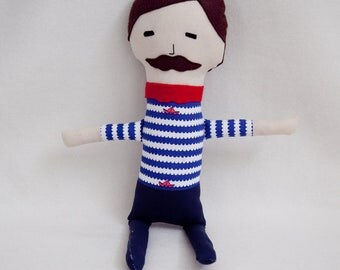Henrik the Sailor Plush - Blue and White and Red - Mustache People Plush - Summer Stuffed Toy- Baby Safe Soft Toy