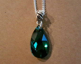 Emerald Swarovski Teardrop Sterling Silver Necklace