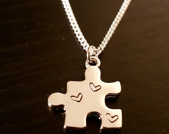 Heart Stamped Jigsaw Puzzle Piece on Sterling Silver Necklace