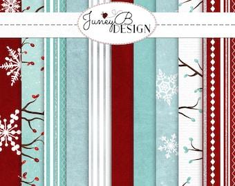 Paper Pack, Christmas Digital Paper, Digital Holiday Paper, Seasonal Paper, Digital Paper Pack