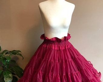 Vintage Burgundy Crinoline Petticoat// 4 Tier Triple Layer Wine Petticoat Swing Dancing Square Dancing Pin Up Crinoline Rockabilly Tutu