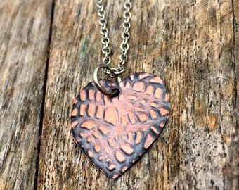 Reptile Heart Necklace, Copper Metal, Steampunk Jewelry, Gifts for Her, Female Cosplay, Boho Bohemian, Rustic style, Everyday wear, Textured