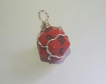 D20 Dice Necklace (Red)