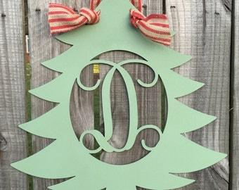Monogram Christmas Tree Door Hanger