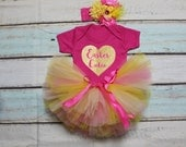 Easter Cutie Baby Girls Outfit Set Pink Yellow Tutu Gold Metallic Print Pink Vest Bodysuit Onesie