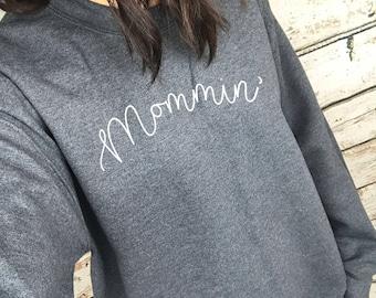 Mommin' White Print Charcoal Dark Grey Oversized Sweater Sweatshirt