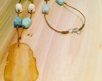 Protector Amber Geode & Aquamarine Layering Necklace