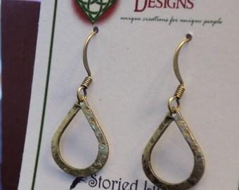 Dainty Dangle Brass Teardrop Earrings