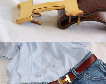 Vintage Hermes belt reversible woman flesh-colored border color