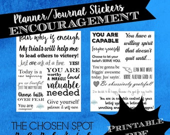 Stickers, encouragement, bullet journal, bujo accessories, black and white, motivation, arbonne consultant, planner stickers, printable pdf
