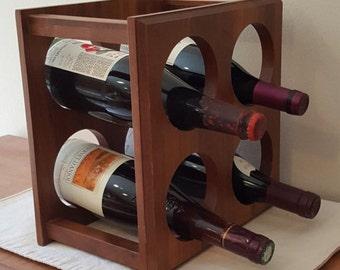 Wood Wine Rack Walnut 4 Bottles