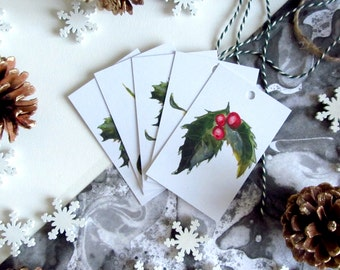 Gift Wrapping Christmas Tags, Mistletoe and Holly Illustrated Gift Tags