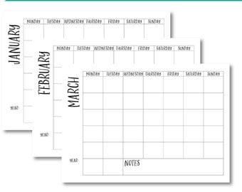 A4 Landscape Yearly Calendar, Monthly Typographic Calendar, Printable Calendar, Calendar Template, DIY Calendar Planner, Desktop Calendar