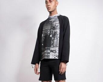 Black Sweatshirt with Black and White Print