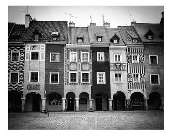 Poznan, Poland Photograph Art Print, Europe Wall Decor, City Square Black & White